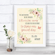 Blush Peach Floral In Our Thoughts Personalised Wedding Sign Print