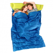 Double Sleeping Bag Camping Hiking Warm With 2 Pillows Carrying Bag NEW