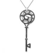 Evert deGraeve 2 1/5 ct Black Spinel Key Pendant Necklace in Sterling Silver