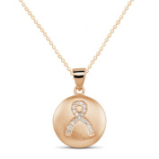 Beverly Hills Silver Rose Goldplated Sterling Silver Cubic Zirconia Breast Cancer Ribbon Pendant Necklace