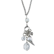 Lolas Jewellery Lola's Jewellery Silvertone Clear Quartz, Freshwater Pearl 'Heart and Angel Wing Charms' Pendant Neckla