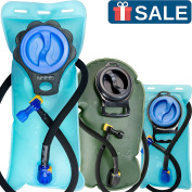aquatic way hydration bladder water reservoir for bicycling hiking camping backpack. non toxic bpa free, easy clean large opening, quick release insulated tube w/ shutoff valve