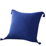 Sunyoyo Knitting Tassels Decor Pillow Cover Solid Colour Sofa Cushion Cover For Home Party 45x45cm/18x18Inch
