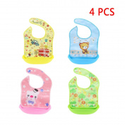 Baby Bibs, HBF 4Pcs Waterproof Baby Bib Soft Comfortable Cute Cartoon Pattern Baby Feeding Bibs