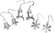 Sterling Silver Earrings Christmas Tree Reindeer & Snowflakes by Juicy Jewellery