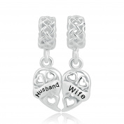 Sug Jasmin Sterling Silver Husband Wife Charm Heart Love Beads For Charm Bracelets