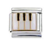 MUSIC PIANO KEYBOARD Enamel Italian Charm 9mm Link - 1 x MD009 Single Bracelet Link