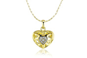 "17"" 45cm 18K Gold Plated Polished Hollow Hearts Crystal Pendant Necklace Gift Present"