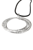 Ladies Womens Lagenlook Quirky Hammered Diamante Large Twin Circle Statement Chain Strand Pendant Fashion Dress Gift Jewellery Necklace