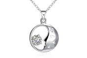 "17"" 45cm Silver Plated Polished Hollow Moon Star Face Crystal Pendant Necklace Gift Present"
