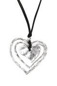 Ladies Womens Lagenlook Quirky Large 3 Heart Statement Chain Strand Pendant Fashion Dress Gift Jewellery Necklace