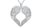 "17"" 45cm Silver Plated Polished Chain Angel Wings Feather Heart Pendant Necklace Gift Present"