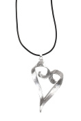 Ladies Womens Lagenlook Twist Large Chunky Silver Heart Statement Chain Strand Pendant Fashion Dress Gift Jewellery Necklace