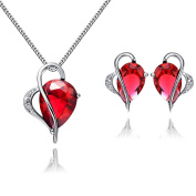 Ladies Red Drop Ruby Pendant Necklace and Stud Earring Jewellery Set,Sterling Silver Chain