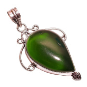 925 Sterling Silver Overlay NLG-12 Green Chalcedony Green Stone Width 3.25cm Girls Women's Pendant Necklace Rhodium Plated Chain