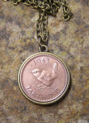 1943 Wren Farthing on a 46cm Bronze Finish Necklace Handmade in Cornwall
