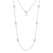 Natural White Topaz Gemstone Necklace 11g 925 Sterling Silver 81cm