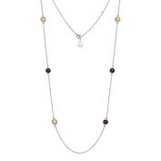 Natural Garnet, Citrine Gemstone Necklace 11g 925 Sterling Silver 81cm