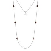 Natural Garnet Gemstone Necklace 11g 925 Sterling Silver 81cm