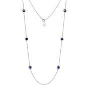 Natural Lapis Lazuli Gemstone Necklace 11g 925 Sterling Silver 81cm