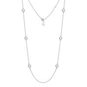 Natural Rose Quartz Gemstone Necklace 11g 925 Sterling Silver 81cm