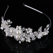 Brides handmade Hair accessories pearl glass buckle stage banquet bride wedding headdress Crown