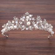 Bride handmade crown pearl inlaid diamond headdress silver crown princess crown