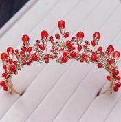 Bride semi-circle crown baroque red headdress crystal rhinestone pearl wedding hair accessories