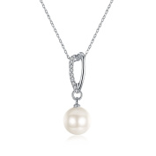 "White Freshwater Pearl Necklace V Curve Crystal ""Circle Life"" 18ct Gold Plated Valentines Birthday Gift For Women Girl"