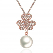 "White Freshwater Pearl Crystal Clovers Necklace ""Sweet Happy"" Anniversary Birthday Gift For Mother Wife 18ct Gold Plated"