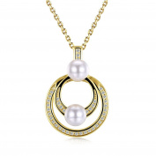 """Multi Layered Crystal Circle Pearl Pendant Necklace """"Charming Life"""" Christmas Birthday Gift For Women Girl Friend"""