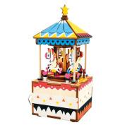 Qiyun Music Box DIY Jigsaw Puzzle Hand-made Wooden Music Box Carousel Box Home Decoration Christmas Giftcolour:AM304 carousel