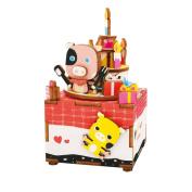 Qiyun Music Box DIY Jigsaw Puzzle Hand-made Wooden Music Box Carousel Box Home Decoration Christmas Giftcolour:AM309 sweetheart
