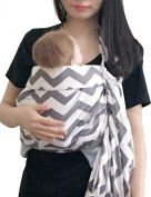 Vlokup Wrap Original 100% Cotton Adjustable Baby Carrier Infant Lightly Padded Ring Sling Grey Wave