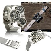 Men's Military Quartz Wrist Watch Stainless-steel Metal Mesh Strap Durable Sub Dials Multi Time Zone Oversize - Black