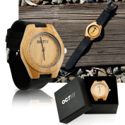 Mens Wooden Watches Black Cowhide Leather Strap Casual Watch