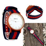 Men's Quartz Analogue Wrist Watch, Wooden Bamboo Casual Business Watch with Nylon Multi-Colour Striped Band - Red Wood
