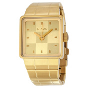 Nixon The Quatro Checker Dial Gold Ion-plated Unisex Watch A013502
