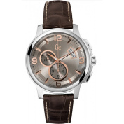 Guess Collection X83009G1S 44mm Stainless Steel Case Brown Calfskin Synthetic Sapphire Men's Watch