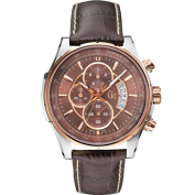 Guess Collection Men's 44mm Brown Leather Band Steel Case Sapphire Crystal Quartz Analogue Watch X81002G4S