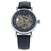 REDH2 Silver/Black Leather Strap Watch