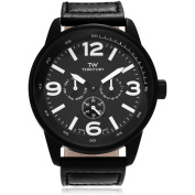 Territory Men's Leather Round Multifunction Strap Fashion Watch, Black