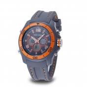 Wrist Armour Men's Wrist Armour C29 Multifunction Watch, Grey and Orange Dial, Grey Rubber Strap