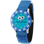 Sesame Street Cookie Monster Stainless Steel Time Teacher Watch, Blue Bezel, Blue Hook and Loop Nylon Strap with Black Backing