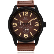 Territory Men's Leather Round Multifunction Strap Fashion Watch, Brown