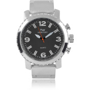 Territory Men's Round Face Stainless Steel Link Fashion Watch, Black