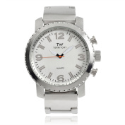 Territory Men's Round Face Stainless Steel Link Fashion Watch, Silver