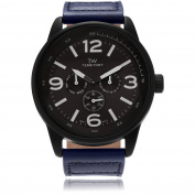 Territory Men's Leather Round Multifunction Strap Fashion Watch, Blue