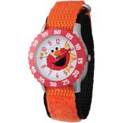 Sesame Street Elmo Stainless Steel Time Teacher Watch, Red Bezel, Orange Hook and Loop Nylon Strap with Black Backing