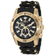 Invicta 0140 Men's Spider Collection Gold Tone Black Dial Rubber Strap Chronograph Watch
